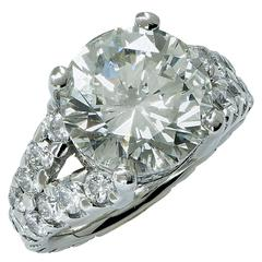 Elegant 10 Carat Diamond Platinum Engagement Ring