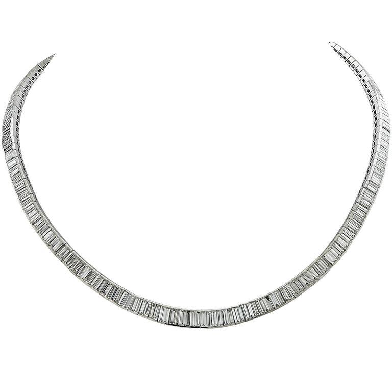 16.76 Carats Diamonds Platinum Necklace