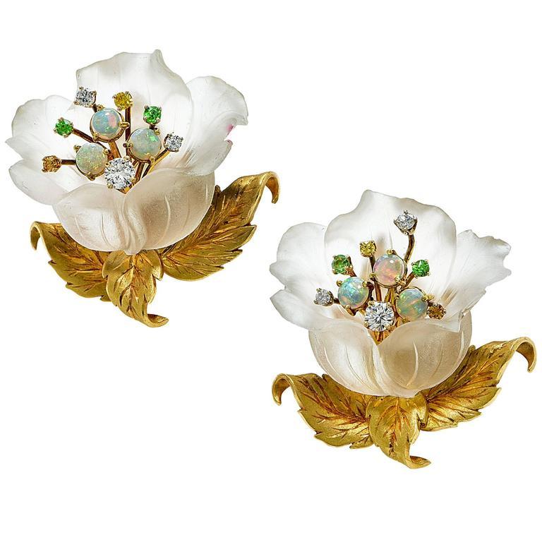 Beautiful Rock Crystal Garnet Opal Diamond Gold Flower Earrings