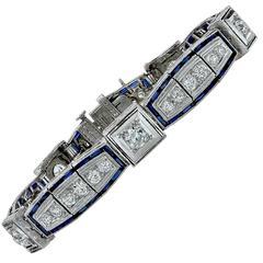 6.25 Carat Diamond Sapphire Platinum Bracelet