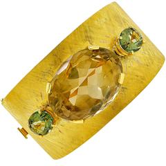 Tourmaline Smokey Quartz Gold Bangle Bracelet