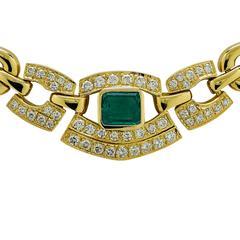 1.5 Carat Emerald .90 Carats Diamond Gold Necklace