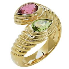 Bulgari Doppio Pink Tourmaline Peridot Gold Ring