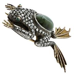 Antique Victorian silver over gold frog brooch