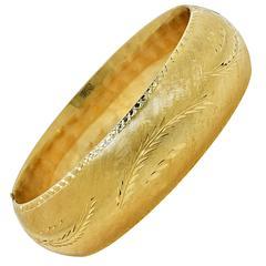 Yellow Gold satin finish Bangle Bracelet