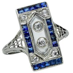 Diamond rock crystal Sapphire Ring
