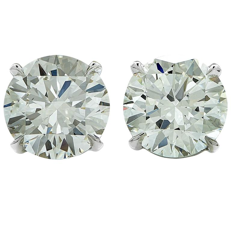 4.40 Carat GIA Diamond Solitaire Stud Earrings