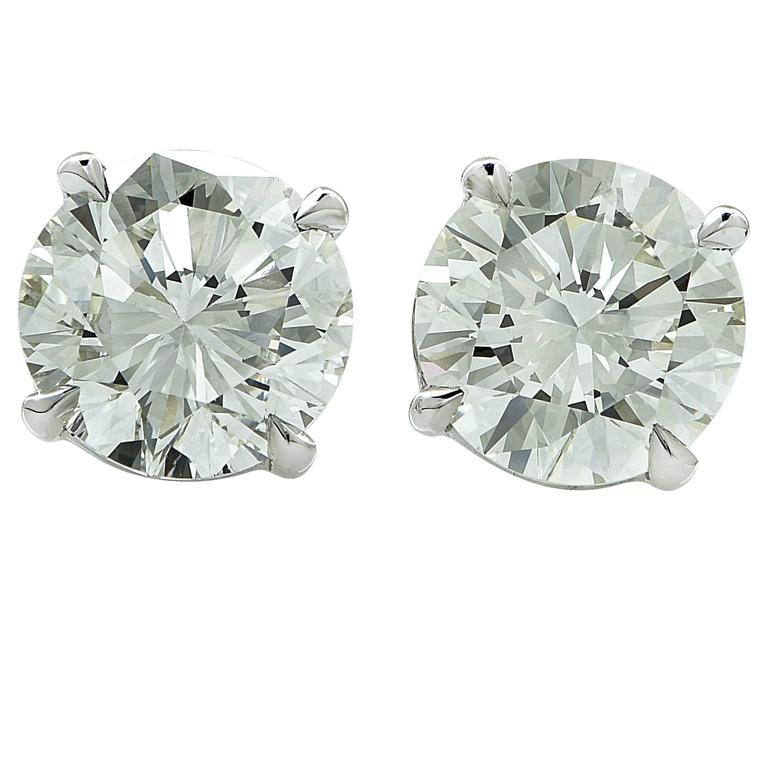 2.86 Carats Diamonds Gold Solitaire Stud Earrings