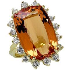 23.18 Carat Topaz Diamond Gold Ring