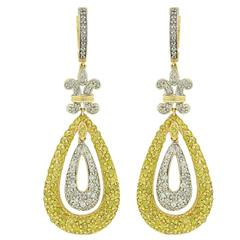 4.65 Carats Diamonds Two Color Gold Dangle Earrings