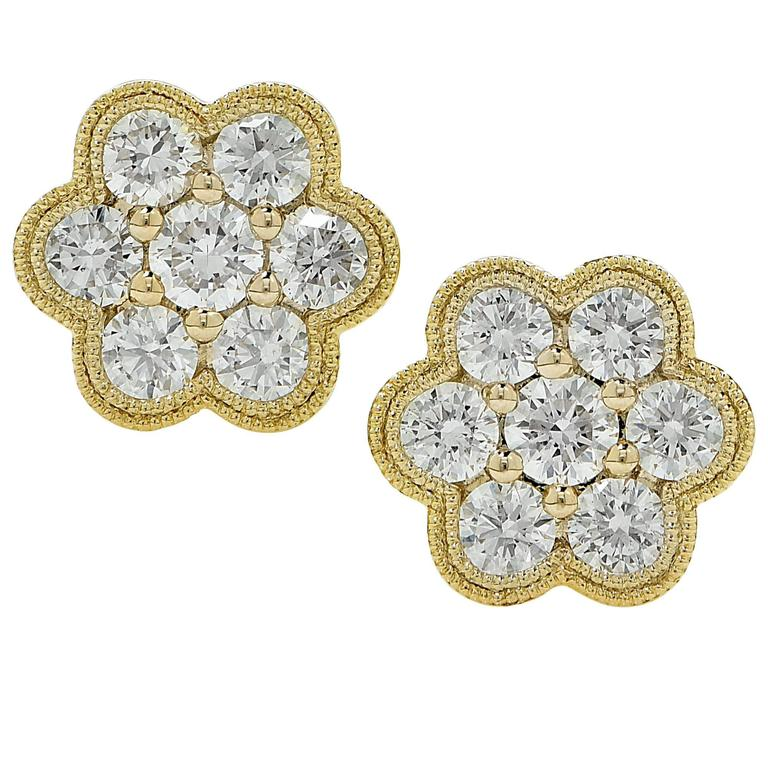 1 Carat Diamond Cluster Earrings