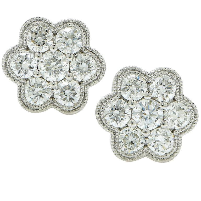1 Carat Diamond Cluster Earrings 1