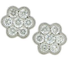 1 Carat Diamond Cluster Earrings