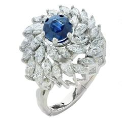 Sapphire and Diamond Swirl Ring