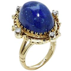Lapis Diamond Gold Ring