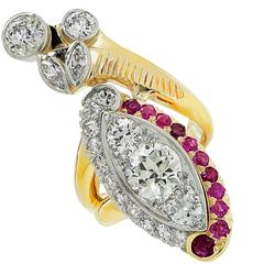 2.42 Carats Diamond Ruby Two Color Ring