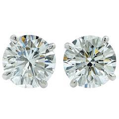 4.06 Carat GIA Diamond Stud Earrings