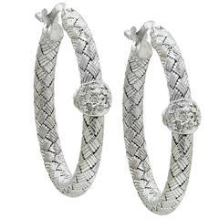 White Gold Woven Hoop Earrings