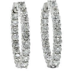 2.96 Carat Diamond Hoop Earrings