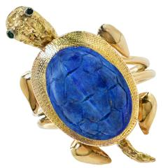 Carved Lapis Turtle with Emerald Eyes