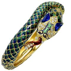 Diamond and Enamel Snake Bangle