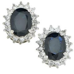 3.80 Carat Sapphire and Diamond Earrings