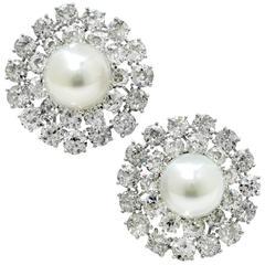 David Webb Impressive Diamond Pearl Earrings