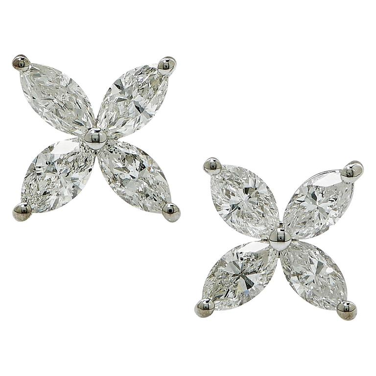 1.10 Carat Marquise Cut Diamond White Gold Stud Earrings For Sale