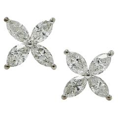 1.10 Carat Marquise Cut Diamond White Gold Stud Earrings