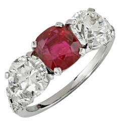 Yard Art Deco Ruby Diamond Platinum Three Stone Ring