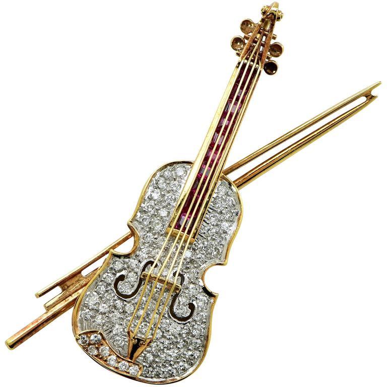 Diamond and Ruby Violin Brooch