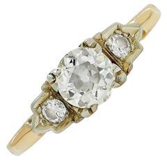 .75 Carat European Cut Diamond Engagement Ring