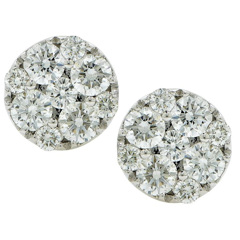 1 Carat Diamond Cluster Earrings 1
