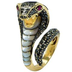 Diamond Abalone Mother-of-Pearl Yellow Gold Cobra Snake Ring