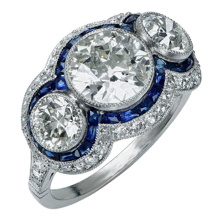 3.50 Carat Sapphire and Diamond Platinum Ring