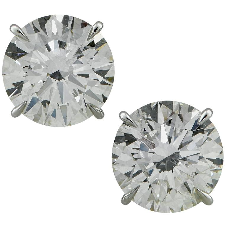 8.32 Carat Diamond Solitaire Stud Earrings For Sale