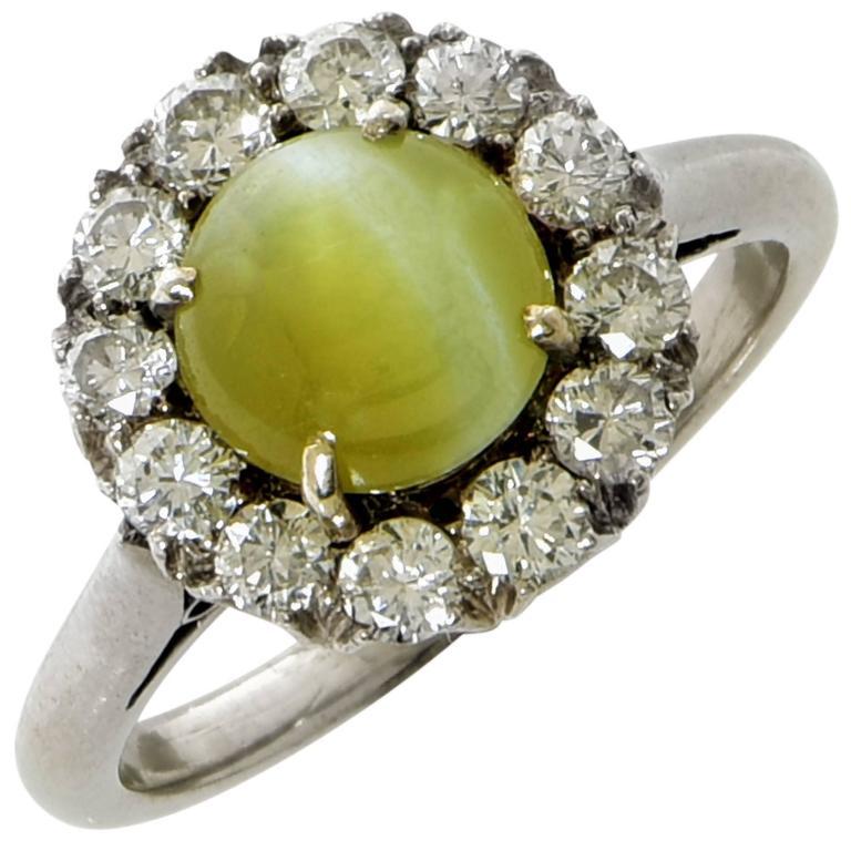 Cat's Eye Chrysoberyl Diamond White Gold Ring
