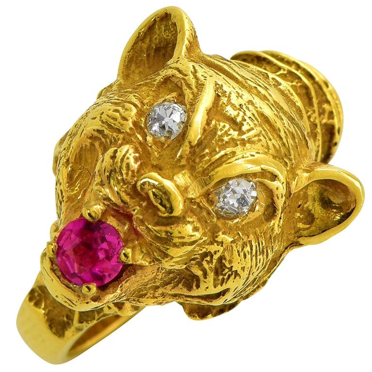 Ruby Diamond Yellow Gold Lion Ring