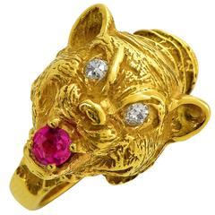 Ruby Diamond Yellow Gold Lion Ring