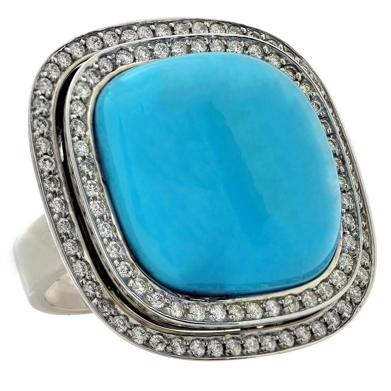 turquoise white gold ring at 1stdibs