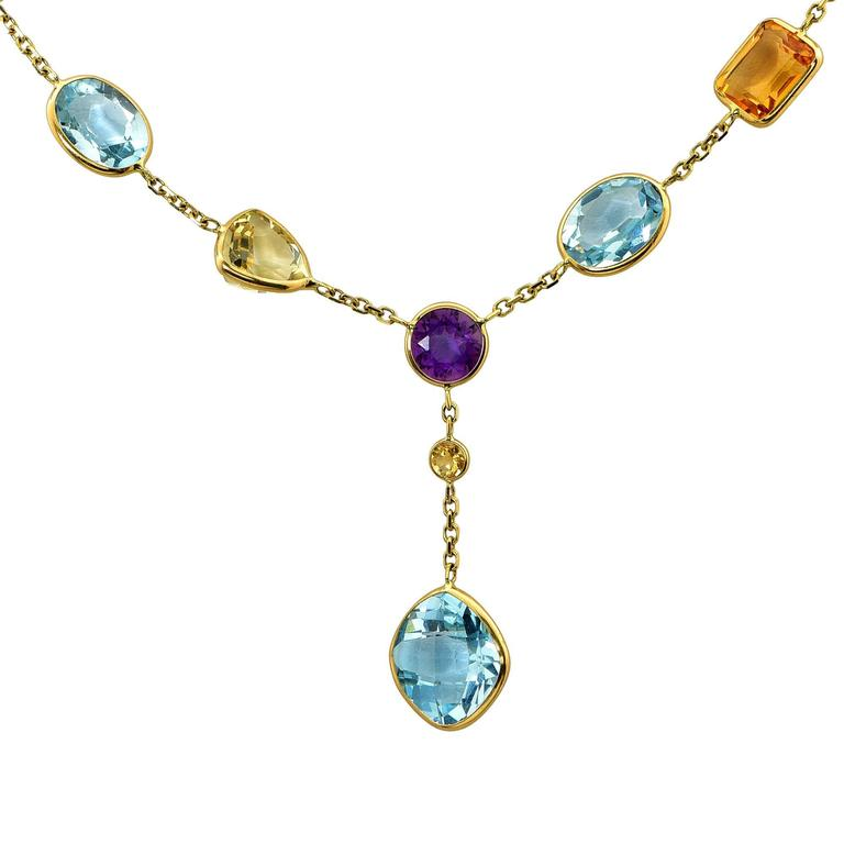 multicolor gemstone yellow gold necklace for sale at 1stdibs