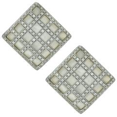 2.10 Carats Diamonds Mother-of-Pearl White Gold Earrings