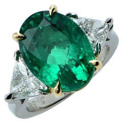 6.54 Carat Emerald and Diamond Ring