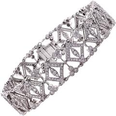 5.50 Carat Diamond White Gold Bracelet