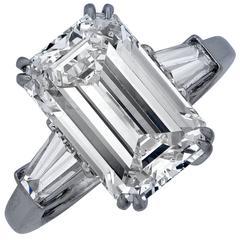 Exquisite 5.72 Carat Emerald Cut Diamond Engagement Ring