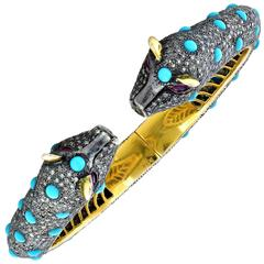 Turquoise Diamond Silver Gold Bangle Bracelet