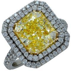 4.68 Carat Fancy Yellow Diamond Double Halo Engagement Ring