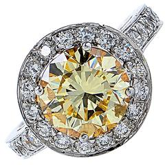 3.36 Carat GIA Graded Fancy Yellow Diamond Platinum Engagement Ring