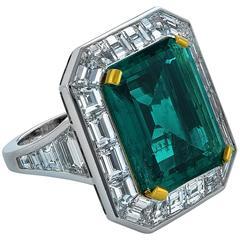 Spectacular 10.10 Carat Emerald Diamond and Platinum Ring