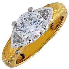 1.50 Carat Diamond Yellow Gold Engagement Ring